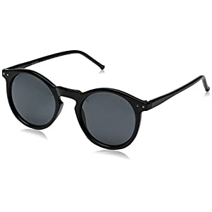 Vintage Retro Horn Rimmed Round Circle Sunglasses with P3 Keyhole Bridge (Black / Smoke)