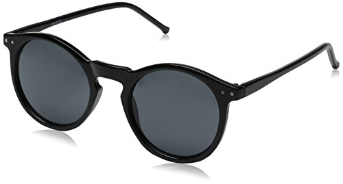 Vintage Retro Horn Rimmed Round Circle Sunglasses with P3 Keyhole Bridge (Black / - Sunglasses Keyhole