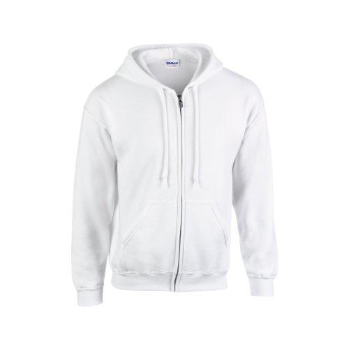 (Gildan Heavy Blend Unisex Adult Full Zip Hooded Sweatshirt Top (L) (White))