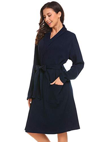 Vestido Largo De Noche Camisa Para Mujeres 2 Bata Robe Gasa Dormir blau Calentamiento Albornoz Mujer Suave Casuales rrdBUwxyqg