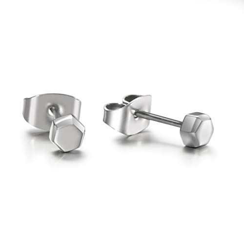 TGNEL Titanium Tiny Hexagon Stud Earrings Hypoallergenic for Women Girls High Polished (TIE047-4mm)