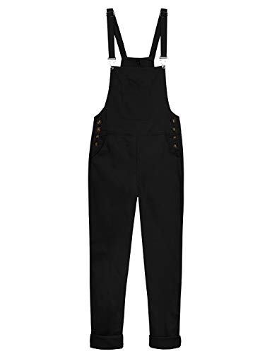 Yeokou Women's Loose Baggy Cotton Wide Leg Jumpsuit Rompers Overalls Harem Pants (X-Large, Black) ()