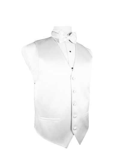 Cardi Men's Solid Satin Tuxedo Vest with Coordinating Bowtie, XXXX-Large White - Cardi Solid Satin