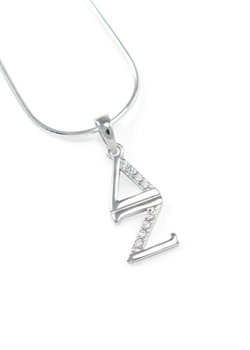 The Collegiate Standard Delta Zeta Sorority Sterling Silver Lavaliere Necklace with CZs