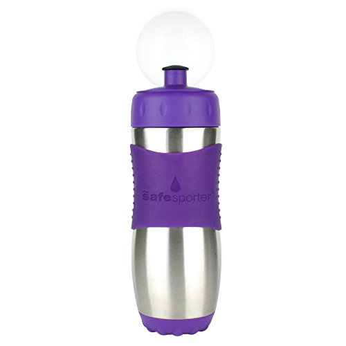 Kid Basix Safe Sporter Stainless Steel Water Bottle For Kids and Adults, Purple, 16oz