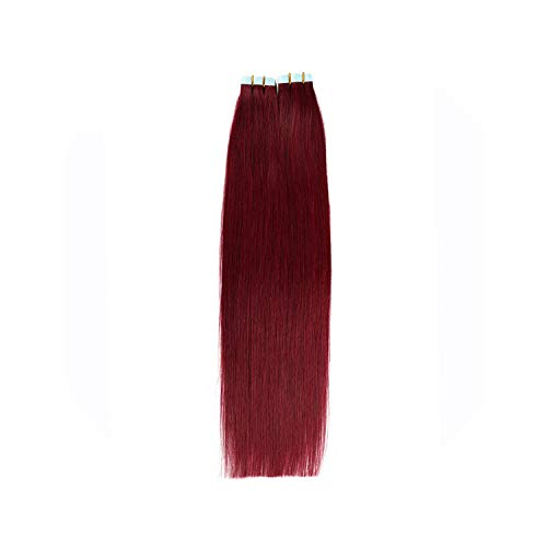 20inch 100% Non-remy Human Tape In Fancy Color 5pcs/lot Silky Straight Tape Hair Extensions,#99J,20 inches,3 Months,5pcs