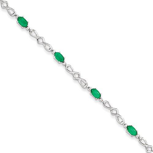 Bracelet Argent 925/1000émeraude et Diamant