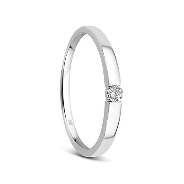 Orovi Anillo solitario de oro blanco de 8 quilates (333) y diamante de 0,05 quilates Orovi Anillo solitario de oro blanco de 8 quilates (333) y diamante de 0,05 quilates Orovi Anillo solitario de oro blanco de 8 quilates (333) y diamante de 0,05 quilates