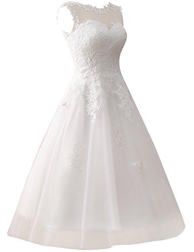 Dentelle Jaeden Robes Courtes De Mariage Tulle Robe De Mariée Vintage Pour Appliques De Mariée De Us10 Blanc