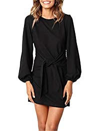 Puff Sleeve Dresses for Women Belted Tie Front Pencil...