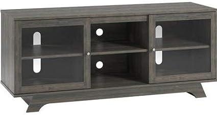 Mueble De Mesa Con Soporte Para Tv Puerta De Cristal De Madera Gris Para Hasta 55 Pulgadas Para Mostrar Tu Televisor Con Estilo Furniture Decor