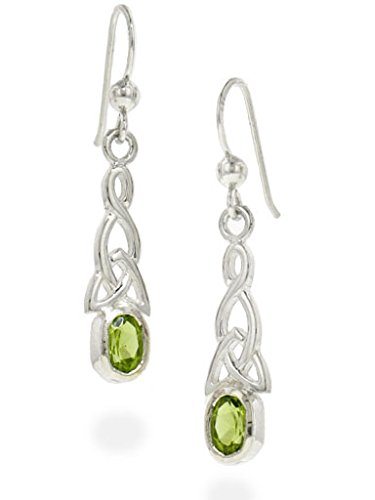 Sterling Silver Celtic Knot and Genuine Peridot Hook Earrings (Knot Celtic Peridot)