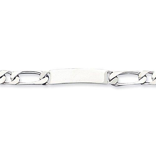 Argent 925/1000 8.5 pouces Engraveable 1 Figaro Bracelet d'identité Fermoirs Mousquetons-JewelryWeb