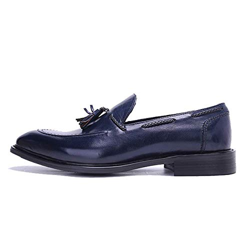 Tallado Broch Xycszq Cuero Zapatos Hombres De Perezosos Caucho Cómodo Transpirable Blue Negocios rqCzYr