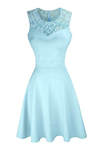 Sylvestidoso Women's A-Line Sleeveless Pleated Little Light Blue Cocktail Party Dress with Floral Lace (M, Light Blue)