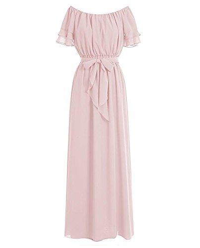 Botong Cou Scoop Longue Robe De Soirée De Bal Robe De Demoiselle D'honneur En Mousseline De Soie Rose