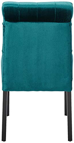 Christopher Knight Home 302603 Deanna Tufted Teal Velvet Dining Chair with Roll Top (Set of 2), - 3