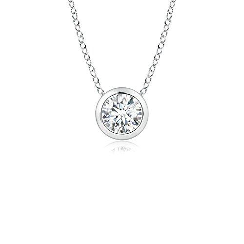 (Bezel Set Round Lab Grown Diamond Solitaire Pendant in 14k White Gold)