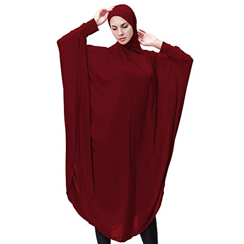 (FarJing Muslim Clothes, Womens Daily Casual Muslim Long Sleeve Vintage Fashion Dresses Robe (M,Wine)