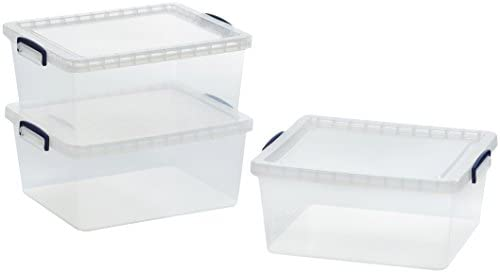 AmazonBasics - Cajas de almacenamiento de plástico transparente ...