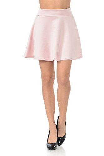 Auliné Collection Womens Versatile Basic Solid Color Flared Skater Skirt