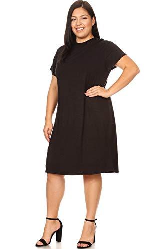 Vibe Sportswear Plus Size Cap Sleeve Mock Neck Lined Bodycon Midi Dress (Black, XXX-Large) -