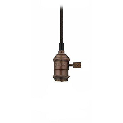 Bronze Bare Bulb Cloth Cord Mini-Pendant Light Socket