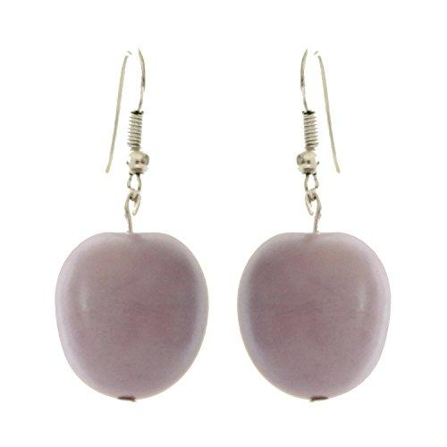 Apples Tagua Earrings Lilac