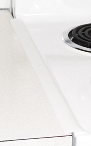 THE BEST Slim Oven Trim - white - countertop gap cover - oven gap seal - (set of 2) - Proprietary Design - Heat Resistant - Less Dust - Narrow design saves counter space - for a cleaner kitchen