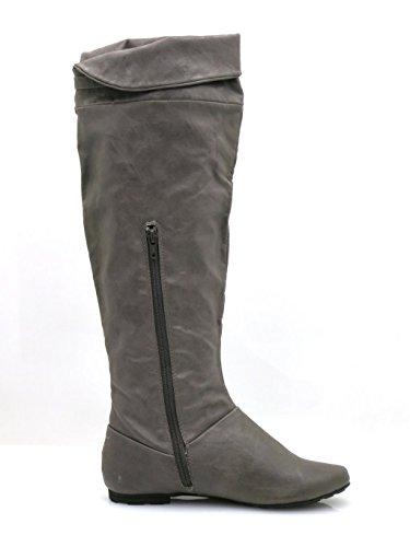 Bullboxer Botas de caña alta Botas de mujer Botas altas de transición Botas Flecos gris