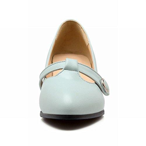 Latasa Mujeres Fashion T-strap Zapatos Con Punta En Punta Bombas Gruesas Azul Claro