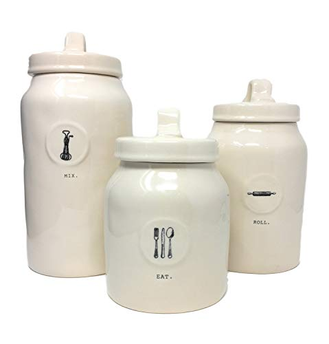 Rae Dunn by Magenta Ceramic Icon Canister Set, Mix, Roll, Eat 3-piece Set ()