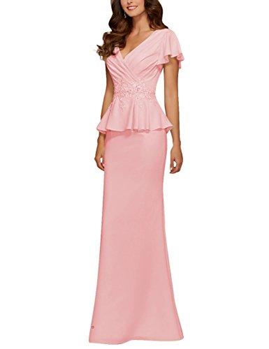 Cdress Womens Chiffon Mother Of The Bride Dresses Beads Applique Peplum Prom Evening Gowns Pink Us 8