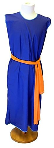 (World Book Day-Egypt-Rome-Greek-Egyptian SLAVE GIRL BLUE DRESS with ORANGE SASH Child's Costume - All Ages (AGE)