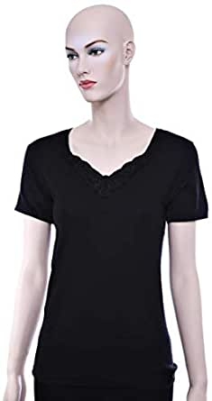 Mariposa Mltblc 636 Big Lace T-Shirt For Women - S, Black