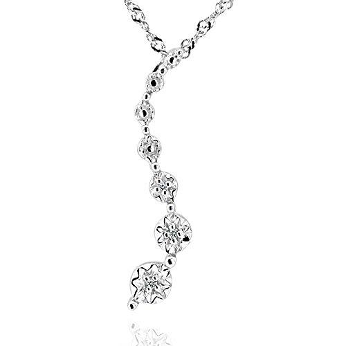 GemsChest Sterling Silver Round Diamond Accent Journey Pendant Necklace 18