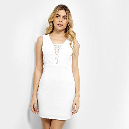 b0906e9a29 Vestido Holin Stone Tubinho Curto Renda Decote E Costas - Branco - P ...