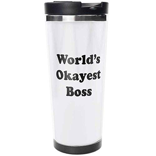 Worlds Okayest Boss Travel Mug Stainless Steel Travel Mug, Insulated 18oz Coffee Tumbler