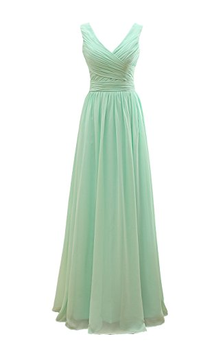 YORFORMALS Women's V-Neck Chiffon Bridesmaid Dress Long Formal Evening Party Gown Ruched Bodice Size 16 Mint Green