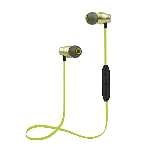 Bluetooth Headphones Sports Wireless Earbuds Sweatproof Headset Magnetic Attraction Stereo Earphones for Running Workout Gym Noise Cancelling SAN.COMO (X5-Green)