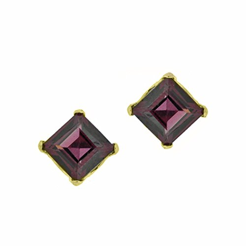 .80 cttw Square 4MM Red Rhodalite Garnet 10K Yellow Gold Stud Earrings (Gold Rhodolite Earrings)