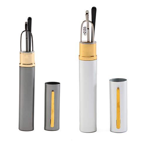 (SOOLALA Super Slim Compact Reader Reading Glasses Reader w/Pen Clip Tube Case, GunSilver, 2.0)