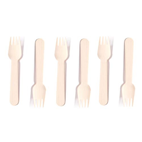 Eco-Friendly Disposable Wooden Forks Set Silverware for Birthday Party Events Holiday Family Gathering Camping BBQ Cutlery (50 ct, Forks)