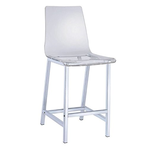 Coaster Contemporary Acrylic Counter Height Bar Stool with Chrome - Acrylic Stool White Bar
