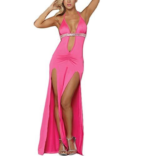 BYHBU Fashion Women Sexy Lingerie Clubwear Deep V-Neck Backless Sequined Split Dress Hot Pink