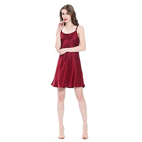 Mini Vestido Basic Sche Camisón Winered Para Ropa Adorable Volantes De Noche Dama Cálido Con Pijama Seda Mujer Verano nOO8xrBpwq