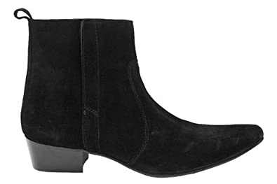 4375a6527158 G0233As Gucinari Mens Black Leather Cuban Heel Ankle Boots Uk12 ...