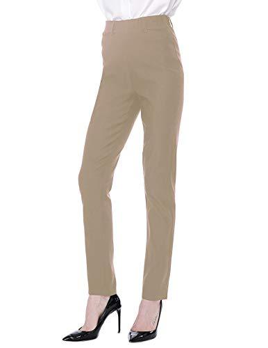 ANGGREK Business Casual Pants for Women Straight Leg Plus Size Dress Slacks Khaki XXL