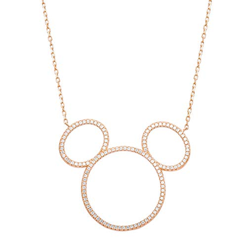 Disney Mickey Mouse Jewelry, Pink Gold Plated Silhouette Necklace, Mickey's 90th Anniversary for $<!--$79.99-->