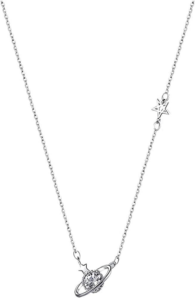 Delicate Saturn Planet Star Neckalce with Zircon Crystal Collar Choker Necklace for Women Girls
